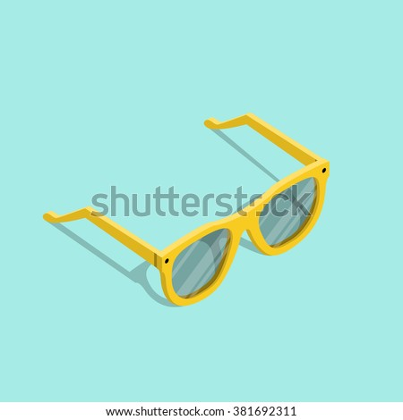 Isometric sunglasses. Isometric party sunglasses. Yellow sunglasses. Sunglasses vector icon. Isolated isometric sunglasses. Yellow isometric sunglasses vector illustration. Vector glasses. Glasses.