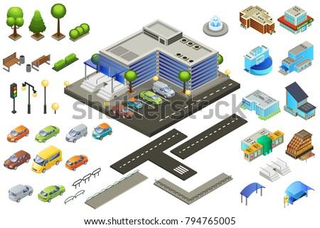 Isometric supermarket elements set with buildings of different architecture cars road parking trees poles benches fountain isolated vector illustration