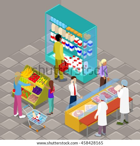 Isometric Supermarket Interior with Buyers and Products. Vector illustration