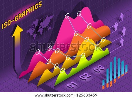 Isometric Time Series Plot Economic Big Data Statistic Set Elements  - stock vector