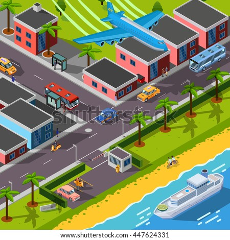 Isometric top view transport concept with  airplane ship cars and city  automobiles on city landscape background vector illustration
