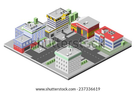 Isometric town concept with government buildings set of hospital police fire station vector illustration - stock vector