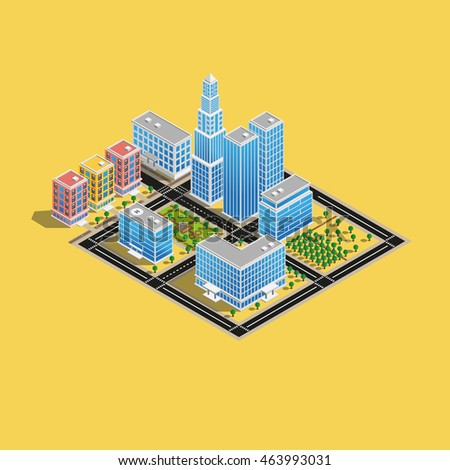 isometric town, infographic town, 3d town, business center