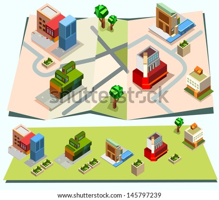 Isometric town map creation kit set - stock vector