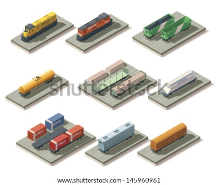 Isometric trains and cars - stock vector