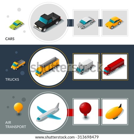 Isometric transport banners set with cars trucks and air transport isolated vector illustration - stock vector