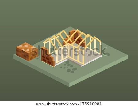 Isometric unfinished brick house construction. Isolated vector illustration. - stock vector