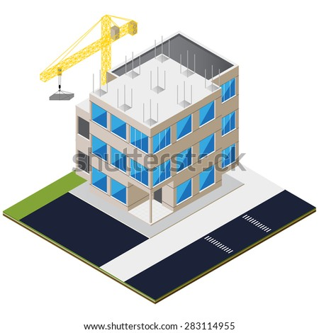 Isometric unfinished brick house construction. Isolated vector illustration. Isometric construction site with cranes and buildings.