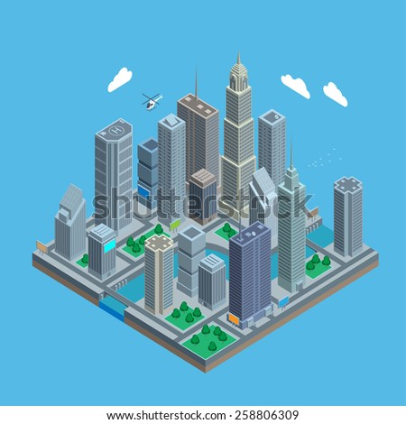 Isometric urban city center map - stock vector