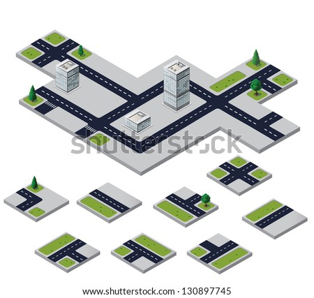 Isometric urban elements on a white background - stock vector