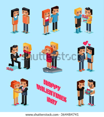Isometric Valentines day. Isometric family couples love hearts 3d. Little cupids 3d icons. Flirting, wedding and parenting, love, first date. Family together concept. Valentine day people couple - stock vector