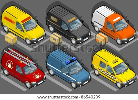 Isometric van in six models, delivery, firefighters, police, taxi - stock vector