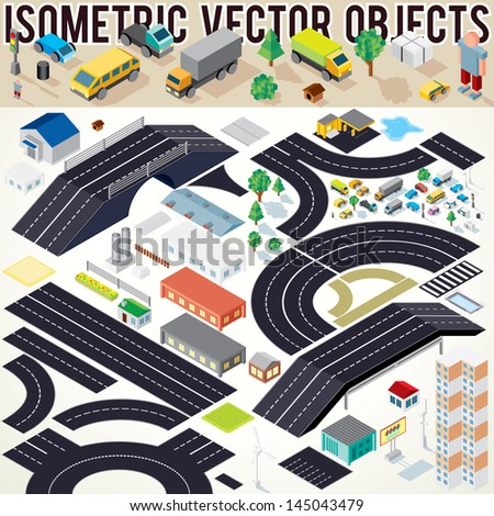 Isometric Vector Cars, Buildings, Roads and other Objects. Easy Editable Colors. Kit to Create Your Own 3D City or Street Map. - stock vector