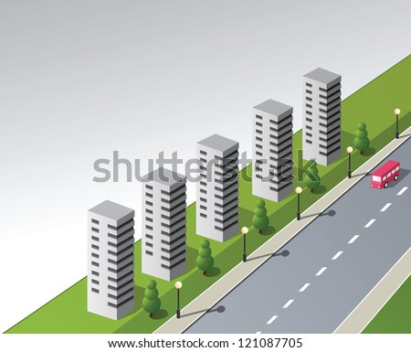 Isometric vector fantasy on the theme of the city with a red bus - stock vector