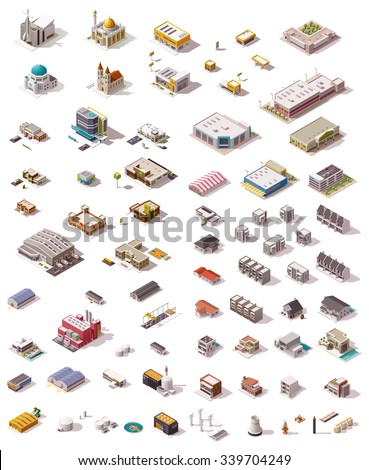 Isometric vector icon set which includes buildings, offices, homes, shops, stores, supermarkets, hospital, factory, warehouse, power plant, oil refinery and other industrial structures - stock vector