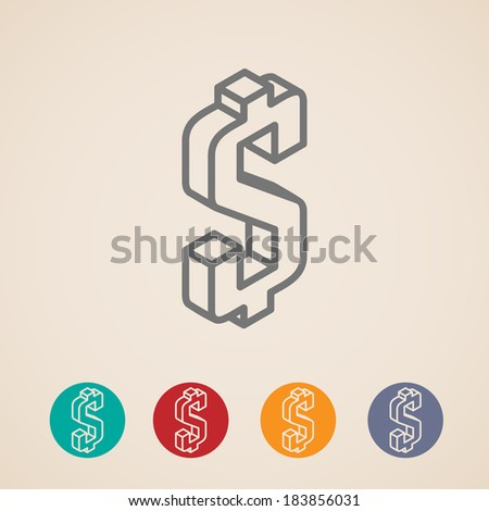 isometric vector icons with dollar sign - stock vector