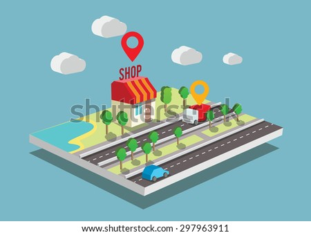 Isometric Vector illustration e-commerce and on-line shopping. - stock vector