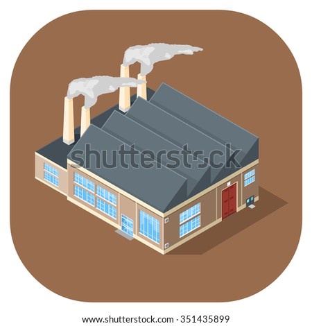 Isometric vector illustration industrial building.  Isometric factory warehouse building icon. large industrial manufacturing buildings. - stock vector
