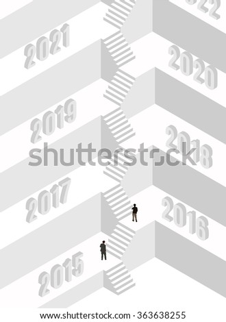 Isometric vector illustration of a steps to success. - stock vector