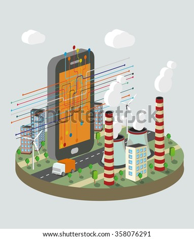 Isometric vector illustration of  smart phone with technology  scheme. Industry atomization concept. - stock vector