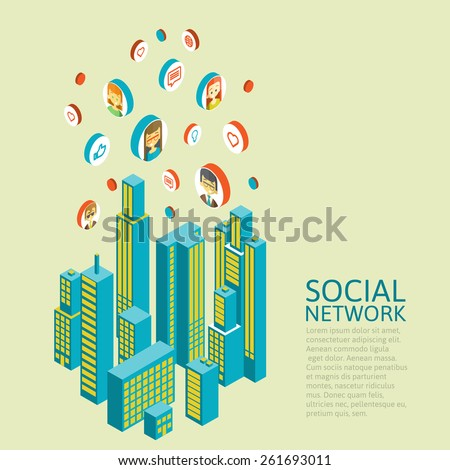 Isometric vector illustration of smartphone application with the city. infographic made of colorful buildings.