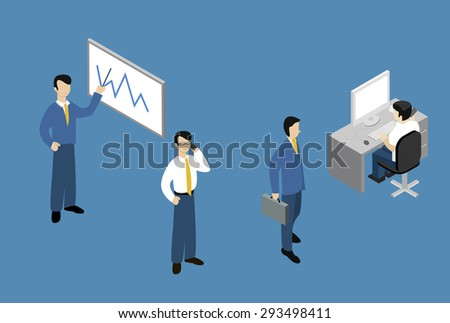 Isometric Vector Illustration. People Isometric Isometric Works. Working sitting at their desks, with their laptop. Isometric perspective. - stock vector