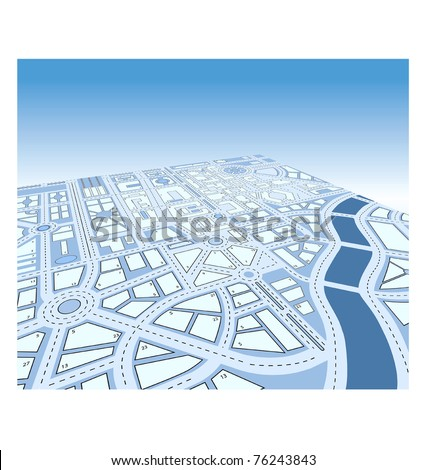 Isometric vector map of city - stock vector