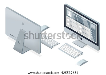 isometric vector modern computer illustration. Display / Keyboard / Mouse