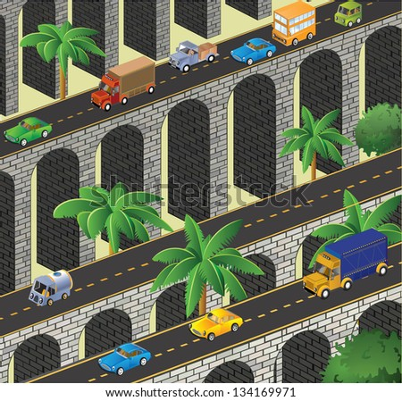 Isometric vector road to the bridge to transport