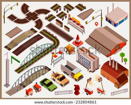 Isometric Vector Roads, bridge, building,car. Editable Colors. set to Create Your map - stock vector