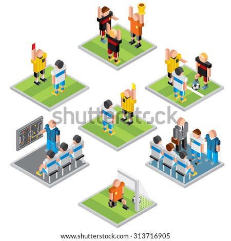 Isometric Vector Sport. Set of 3D Design Soccer Icons - stock vector