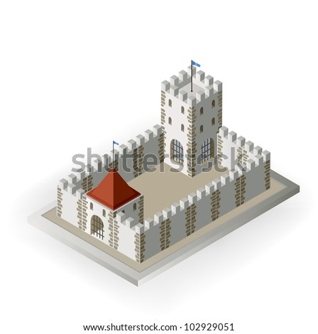 Isometric view of a medieval castle on a white background - stock vector