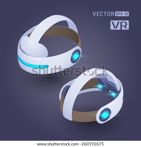 Isometric virtual reality headset against the dark-violet background. The objects are shown from two sides