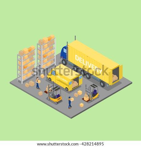 Isometric Warehouse. Cargo Industry. Worker on Forklift. Cargo Loading. Vector Illustration - stock vector
