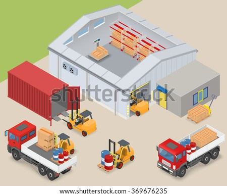 Isometric warehouse interior, inside industrial scales, storage racks. The adjacent area are trucks, forklifts, container and office - vector illustration - stock vector