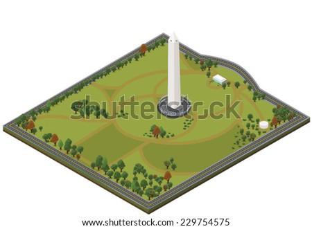Isometric Washington Monument - Vector clip art illustration on white background - stock vector