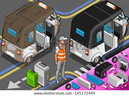 Isometric White Rickshaw in Rear View. Icon. India Rickshaw JPG. India Rickshaw JPEG. Picture. Image. Graphic. Art. Illustration. Drawing. Object. India Rickshaw Vector. India Rickshaw EPS. AI. - stock vector
