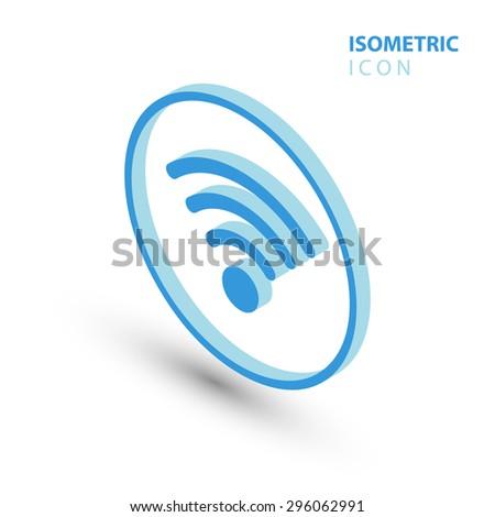 Isometric wifi sign. Isometric wi-fi symbol. Isometric Wireless network icon. Wifi zone.  - stock vector