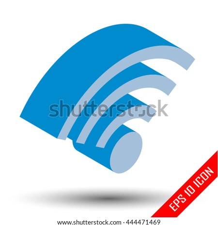 Isometric wifi sign. Isometric wi-fi symbol on white background. Isometric wireless network icon. Wifi zone. Vector illustration. - stock vector