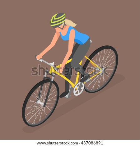 Isometric woman on bicycle. Flat style, fitness, people, sport. - stock vector