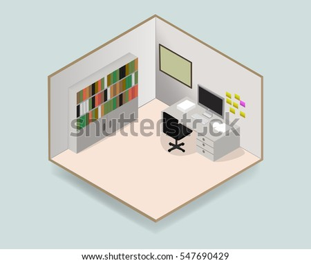 Isometric working room with computer on wooden table, note pad on the wall  and book shelf in the room.Concept design for indoor interior or office design in vector illustration