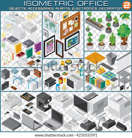 Isometric Workplace Planning Kit. Set Include Furniture, Plants, Items, Food, Electronics, Equipments, Decorations, Supplies. 3d Vector Business Interior Collection - stock vector