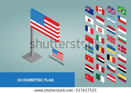 Isometric World Flags Set