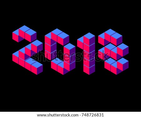 Isometric year blue and red number on black 2018 pixel isometric lettering on black. Blue red isometric pixel voxel  inscription 2018 lettering. 2018 Vector numbers 2018 in isometric pixels