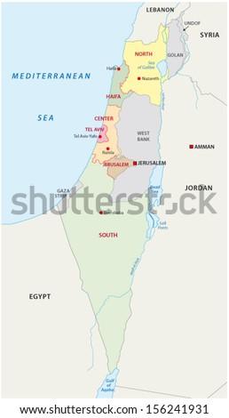 israel administrative map - stock vector