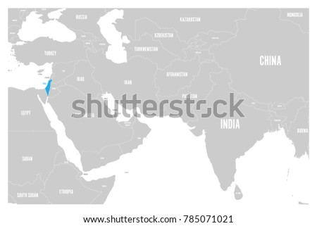 israel blue marked in political map of south asia and middle east simple flat vector