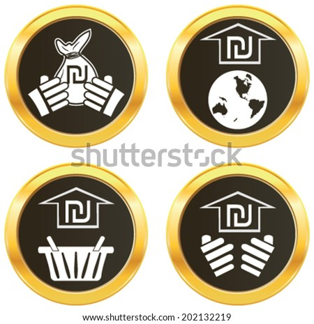 Israel currency symbol Israeli new shekel representing money of the nation. White vector illustration of shopping basket. pictograph of globe, hand showing currency on golden web button icon.  - stock vector