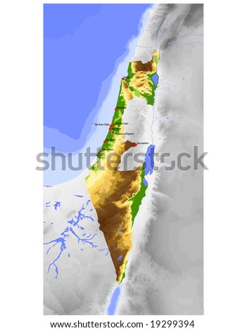 Israel, excl. West Bank. Physical vector map, colored according to elevation, with ocean depths and selected cities. Surrounding territory greyed out. 50 layers, fully editable. Data source: NASA - stock vector