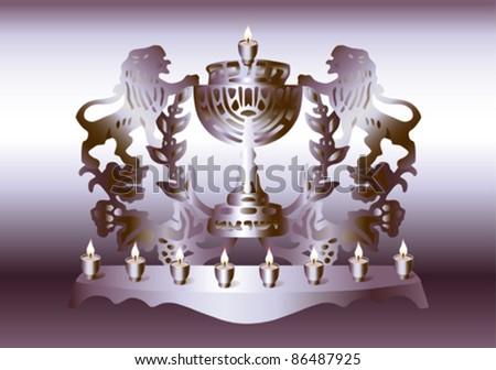 Israel Hanukkah Menorah. - stock vector