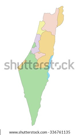 Israel - Highly detailed editable political map. - stock vector
